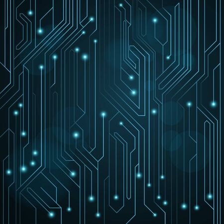 High-tech background of blue color from a computer board with LEDs and luminous neon connectors. Computer circuit. A large electronic network. Vector illustration. EPS 10