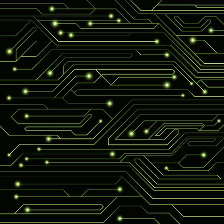 ハイテク Led とネオンの光コネクタとコンピューター基板から緑色の背景。コンピューター回路。大規模な電子ネットワーク。ベクトルの図。EPS 10