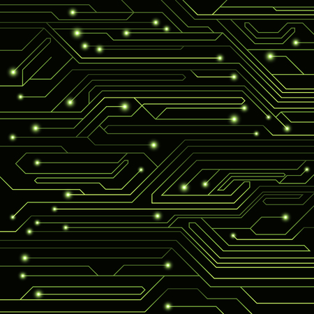 High-tech background of green color from a computer board with LEDs and luminous neon connectors. Computer circuit. A large electronic network. Vector illustration. EPS 10 Stock Vector - 80436859