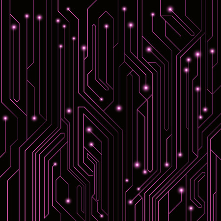 High-tech background of purple color from a computer board with LEDs and luminous neon connectors. Computer circuit. A large electronic network. Vector illustration. EPS 10