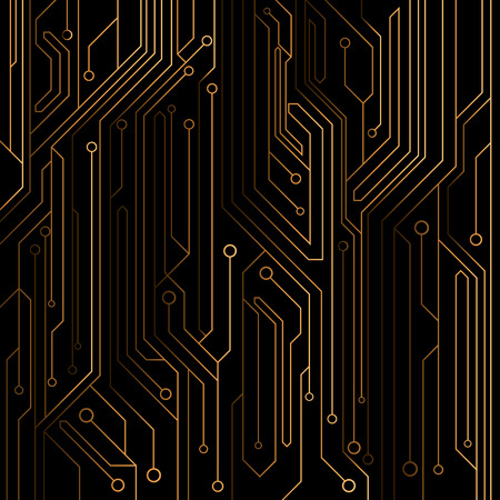 High-tech background of orange color from a computer board with LEDs and neon connectors. Computer circuit. Vector illustration. EPS 8 Vector Illustration