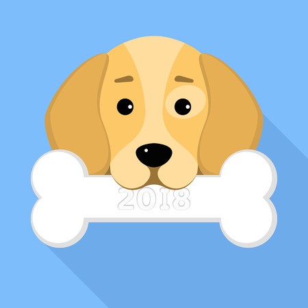 2018 year of the dog. The dog beagle keeps a bone in the mouth on a blue background. A place for your projects. A sweet animal. Cartoon style. Vector illustration in a flat style. EPS 8 Illustration