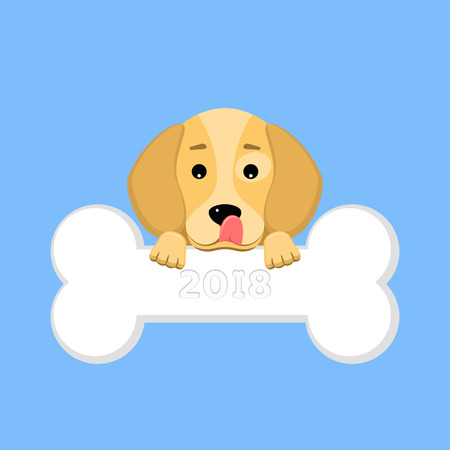 2018 year of the dog. The dog beagle keeps a bone in the mouth on a blue background. A place for your projects. A sweet animal. The dog licks himself. Vector illustration in a flat style. EPS 8