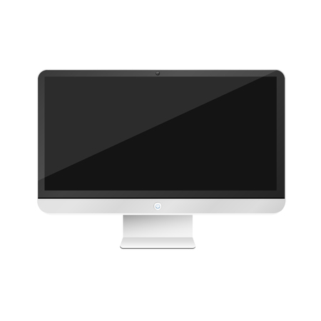 Modern, high-tech computer isolated on white background. Empty monitor screen. Vector illustration