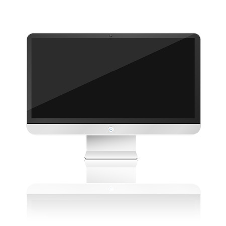 Modern, high-tech computer isolated on white background with reflection. Empty monitor screen. Vector illustration. EPS 10