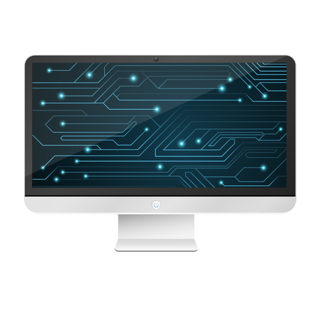 Modern, high-tech computer isolated on white background. An image of a glowing motherboard on the monitor screen. Blue chain with connectors. Vector illustration. EPS 10 Illustration