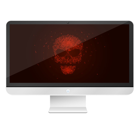 Modern, high-tech computer isolated on white background. A glowing red skull from the programming tags. Hackers broke the system. Vector illustration. EPS 10