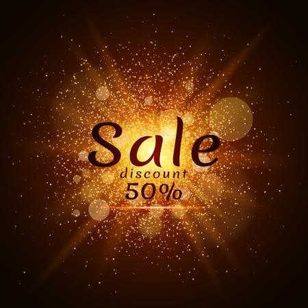 Golden luminous dust on a black background. Sale of 50 percent. Cover sale. Vector illustration. EPS 10 Çizim