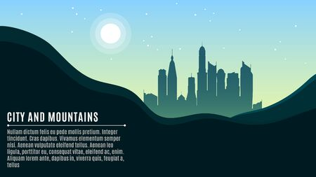 Landscape on the hilly mountains and the big morning city. Bright sun and stars on a turquoise sky. A place for your projects. Vector illustration in a flat style. EPS 10