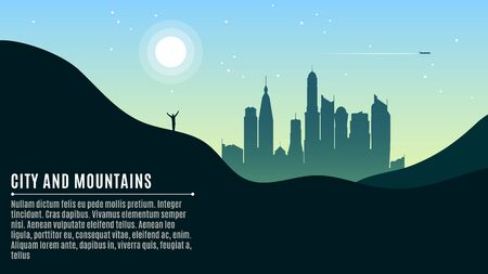 Landscape on the hilly mountains and the big morning city. The traveler waves his hands. A place for your projects. Vector illustration in a flat style. EPS 10 Illustration