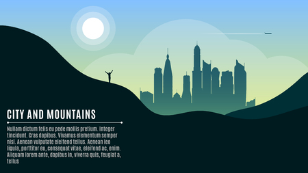 Landscape on the hilly mountains and the big morning city. A happy traveler waving his hands. A place for your projects. Vector illustration in a flat style. EPS 10