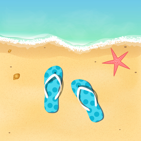 bathe: Slates and starfish on the beach. Opening of the summer season. Relax on the beach. Vector illustration. EPS 10