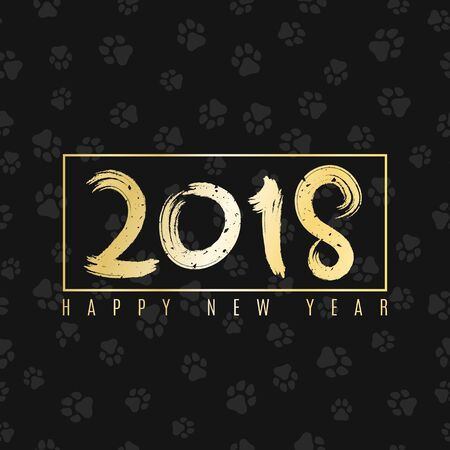 2018 year of the dog. Golden banner with text for your projects. Cover for the magazine. Painted figures. Vector illustration. EPS 8