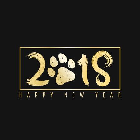 2018 jaar van de hond. Gouden banner met tekst voor uw projecten. Grunge penseel. Een gouden hondenspoor. Cover voor het magazine. Geschilderde cijfers. Vector illustratie. EPS 8