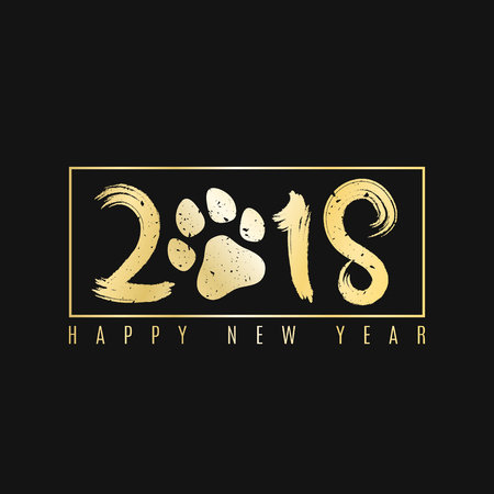 2018 year of the dog. Golden banner with text for your projects. Grunge brush. A golden dog track. Cover for the magazine. Painted figures. Vector illustration. EPS 8 Çizim