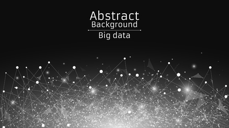Abstract polygonal background from connected triangles and dots. Modern technologies in design. Luminous particles are white in the dark. Big data. Vector illustration Illustration