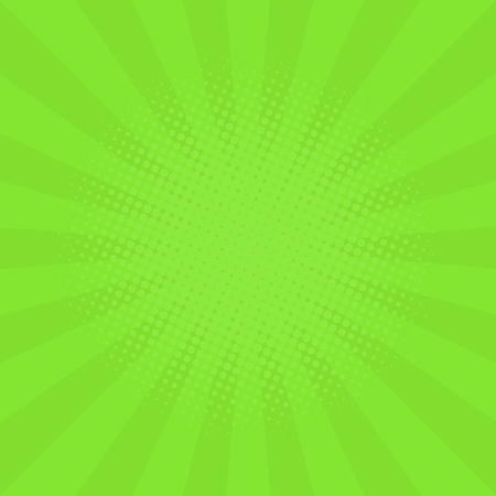 Abstract background with cartoon rays of green color. Template for your projects. The cartoon sun. Halftone effect. Flat style. Vector illustration Illustration
