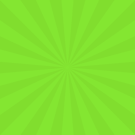 Abstract background with cartoon rays of green color. Template for your projects. The cartoon sun. Flat style. Vector illustration