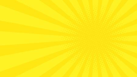 抽象的な背景黄色の漫画光線。あなたのプロジェクトのテンプレートです。漫画の日。ハーフトーン。フラット スタイル。ベクトル図