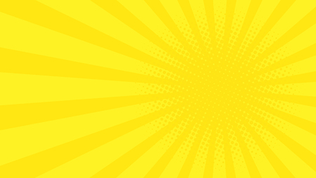 Abstract background with cartoon rays of yellow color. Template for your projects. The cartoon sun. Halftone effect. Flat style. Vector illustration Illustration