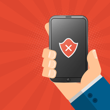 The hacker is holding a hacked gadget in his hands. Electronic high-tech phone smartphone. Web programming. A red shield on the screen. Vector illustration 向量圖像