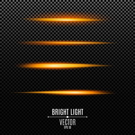 Light effects. Rays of golden color on a transparent background. Footage for photos and videos. Bright flashes of light. Vector illustration