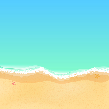 Top view of a cartoon sea beach bright sandy beach sea tide top view of a cartoon sea beach starfish on the sand sea tide voltagebd Choice Image