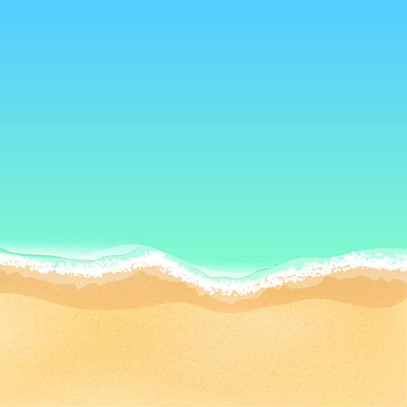 Vista superior de una playa de mar de dibujos animados. Playa de arena brillante. Marea del mar, olas del mar. Lugar para tu proyecto. Ilustración vectorial