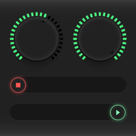 Set of buttons and sliders. Luminous, neon control user interface. Sound management. Red and green sliders on and off. Vector illustration