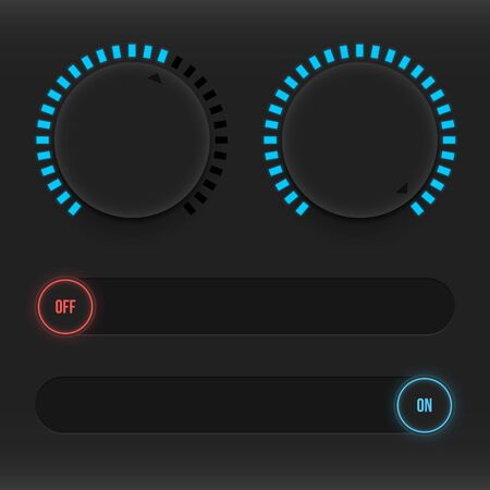 Set of buttons and sliders. Luminous, neon control user interface. Sound management. Sliders on and off. Vector illustration