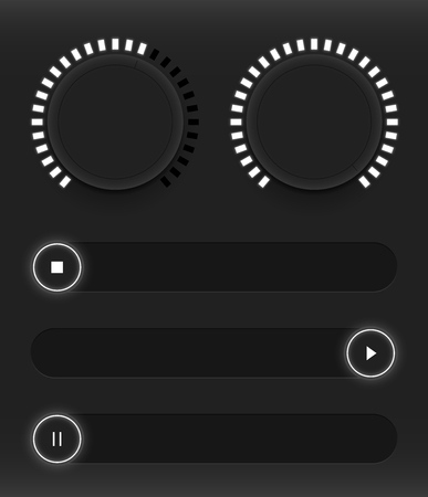 electronic music: Set of buttons and sliders. Luminous, neon control user interface. Sound management. White sliders turn on, off and pause. Vector illustration