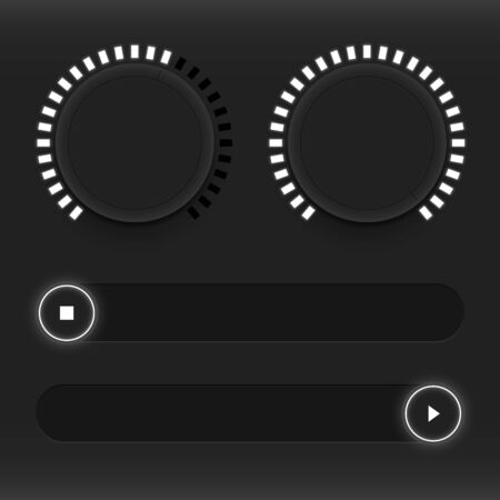 electronic music: Set of buttons and sliders. Luminous, neon control user interface. Sound management. Web Icons. White sliders on and off. Vector illustration Illustration