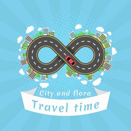 Infinity road. Travel time. Cartoon red car. The carriageway. Halftone effect with rays. Banner of white ribbon. Cities and settlements. Trees and plants. Vector illustration Illustration