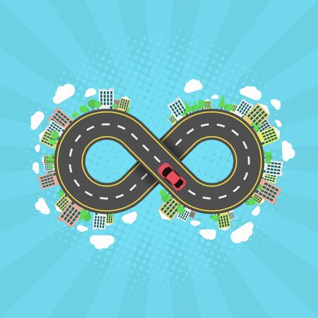 Infinity road. An endless journey through the world. The carriageway. Cartoon car is driving along the road. Halftone effect with rays. Cities and settlements. Trees and plants. Vector illustration Illustration