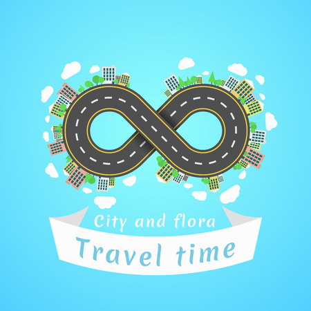 Infinity road. Travel time. A cartoon red car. The carriageway. Banner of white ribbon. Cities and settlements. Trees and plants. Vector illustration Illustration