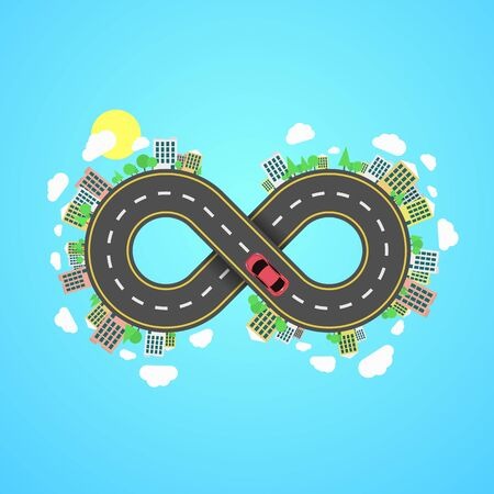 Infinity road. An endless journey through the world. The carriageway. Cartoon car is driving along the road from the eight. Cities and settlements. Trees and plants. Vector illustration