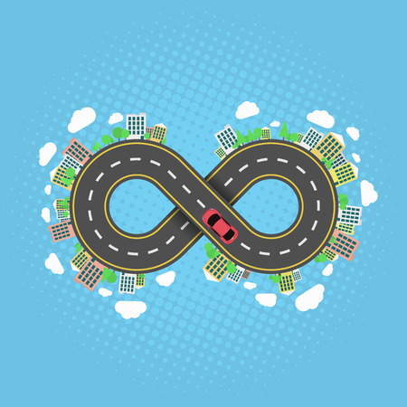 Infinity road. An endless journey through the world. The carriageway. Cartoon car is driving along the road. Halftone effect. Cities and settlements. Trees and plants. Vector illustration