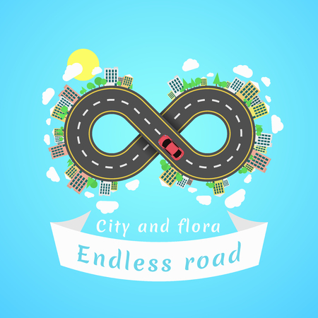 Endless road. Travel time. Cartoon red car. The carriageway. Banner of white ribbon. Cities and settlements. Trees and plants. Vector illustration