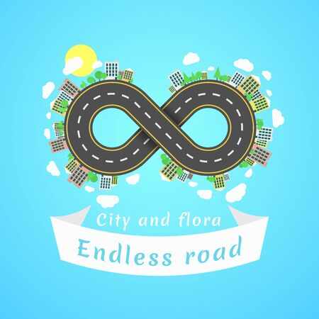 Endless road. Travel time. The carriageway. Banner of white ribbon. Cities and settlements. Trees and plants. Vector illustration