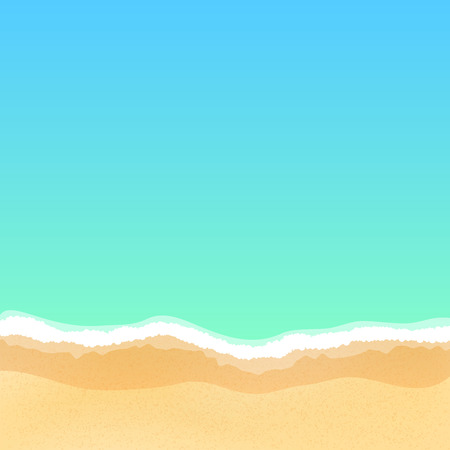 Top view of an empty sea beach. Summer day and relax. Many fine particles of sand. Empty beach. Vector illustration