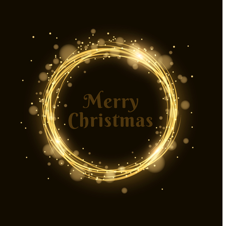 Merry Christmas. Abstract magical glowing golden banner of neon woven stripes. Gold dust and glare bokeh. Celebratory banner. Vector illustration