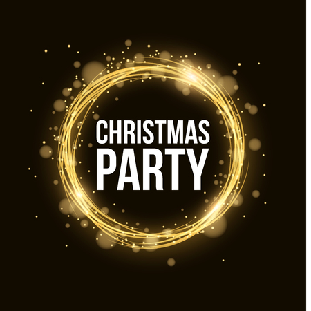 Christmas party. Abstract magical glowing golden banner of neon woven stripes. Gold dust and glare bokeh. Celebratory banner. Vector illustration Illustration
