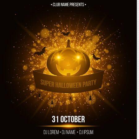 dancing club: Super halloween party. Ribbon banner.