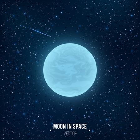 Glowing blue full moon in space. Falling star. Иллюстрация