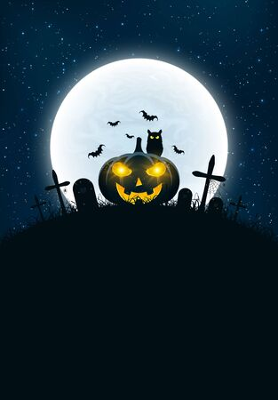 haunt: Template for Halloween. The night scene of horrors. The concept of crosses, graves and pumpkin with luminous yellow eyes. The black owl. Full moon. Vertical background. Vector illustration Illustration