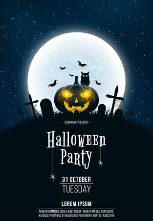 Template for Halloween party. A terrible concept of crosses, graves and a glowing pumpkin. Gold dust. Black owl. Full moon. Vertical background. Vector illustration