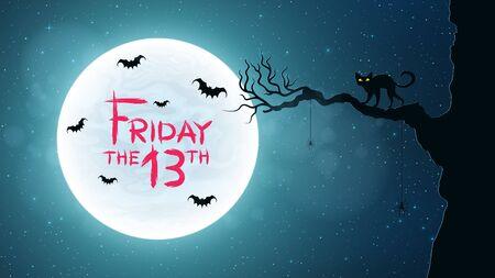 金曜日 13 の背景。猫木散策をバックアップします。コウモリは、満月の背景に飛ぶ。グランジ スタイルでブラッディ テキスト。ベクトル図