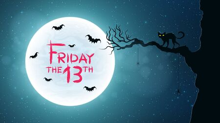 Background for Friday 13. Back cat walks through the tree. Bats fly against the background of the full moon. Bloody text in grunge style. Vector illustration Vettoriali