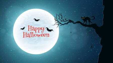silueta de gato: Background for Halloween. Back cat walks through the tree. Bats fly against the background of the full moon. Bloody red text. Vector illustration Vectores