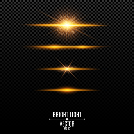 Set. Abstract glare and flashes isolated on a transparent background. Golden bright radiant star. Golden backlight and soft light. Orange soft neon lines and lights. Vector illustration